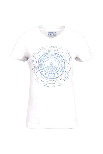 Fenerbahçe Kadın Beyaz Tribün Taşlı T-shirt