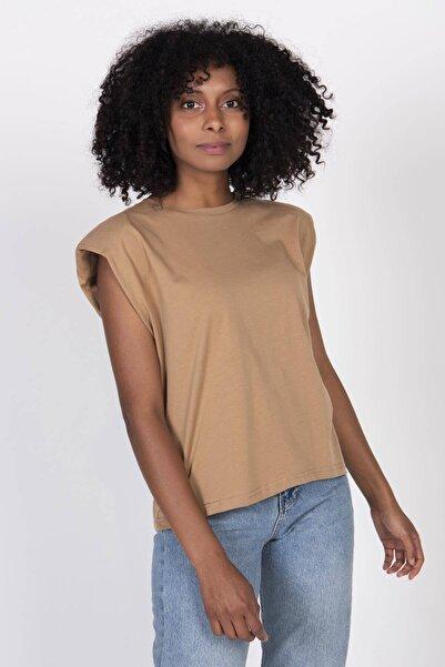 Addax Kadın Kahve Vatkalı Tişört P18802 - Y1 Adx-0000022431