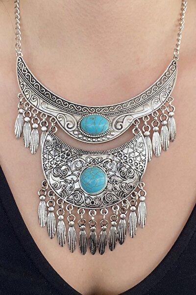 TAKIŞTIR Gümüş Renk Mavi Taşlı Antik Kolye