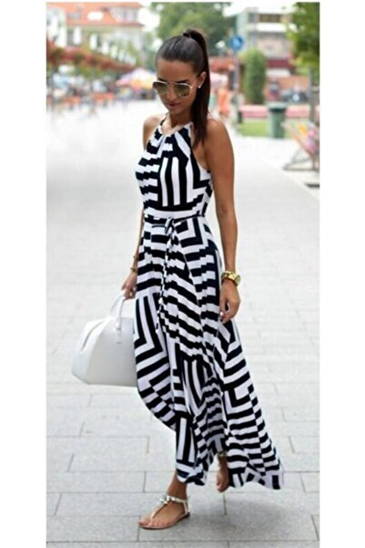 tknfashion Kadın Siyah Asimetrik Desen Esnek Krep Kumaş Uzun Kiloş Plaj Elbise