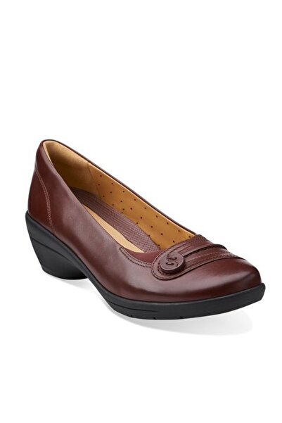 CLARKS Kadın Bordo Deri Dolgu Topuk Ayakkabı