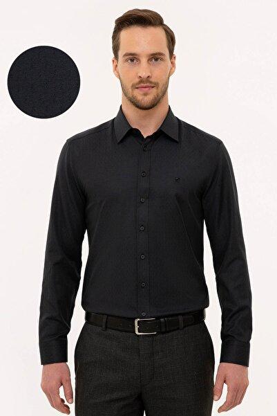 Pierre Cardin Erkek Siyah Slim Fit Armürlü Gömlek