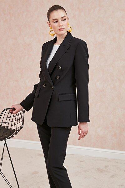 Journey Kadın Siyah Klasik Yaka Kruvaze Çoklu Düğmeli,Çift Kapak Cep Ceket