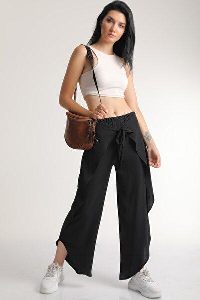 MD trend Kadın Siyah Bel Lastikli Bağlamalı Anvelop Pantolon Mdt6513