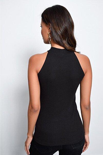 Kadın Siyah Kaşkorse Kolsuz Bluz Yİ1566