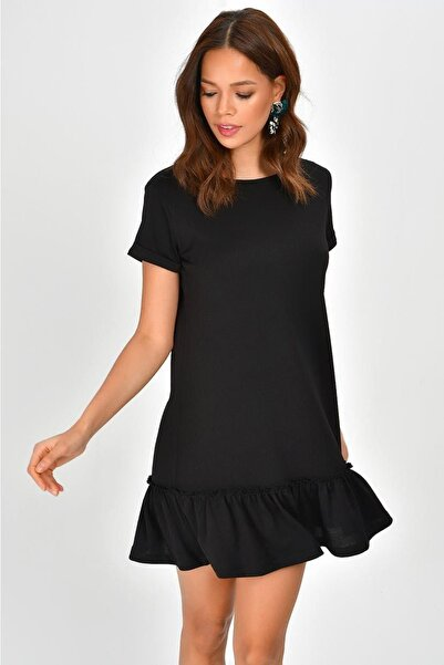 Kadın Siyah Eteği Volanlı Elbise B87
