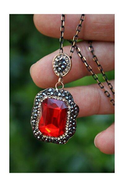 Stoneage Kırmızı Kristal Taşlı El Yapımı Kadın Kolye ve Zincir