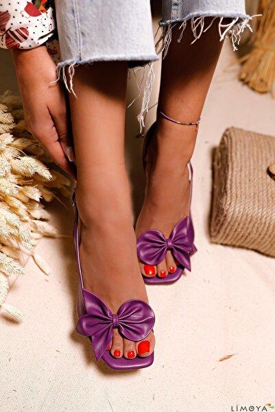 Limoya Kadın Mor Keely Fiyonk Detaylı Şampanya Topuklu Sandalet