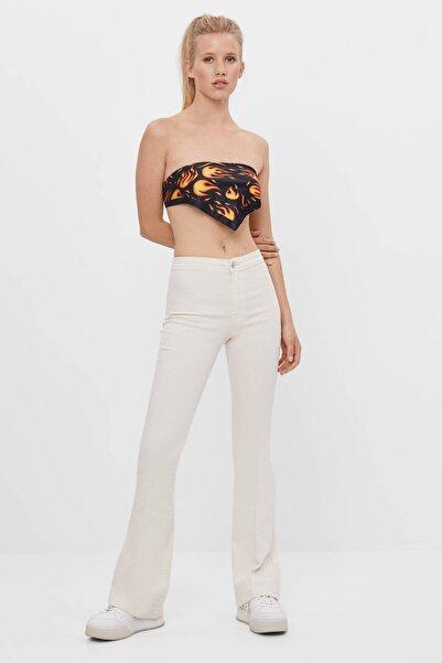 Bershka Kadın Kum Rengi Fitilli Ispanyol Paça Pantolon