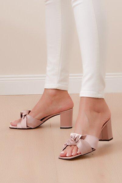 Shoes Time Kadın Pudra Saten Terlik 20y 825