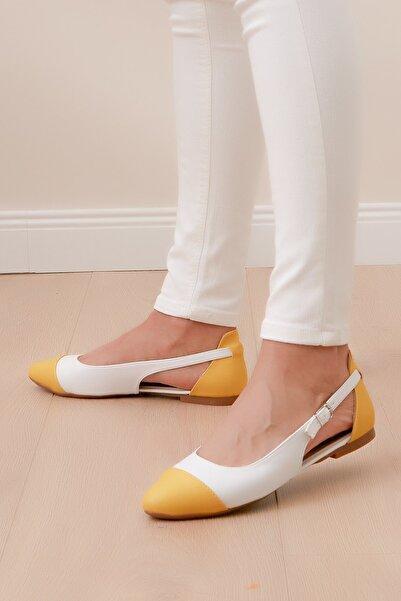 Shoes Time Kadın Beyaz Sarı Babet 20y 415