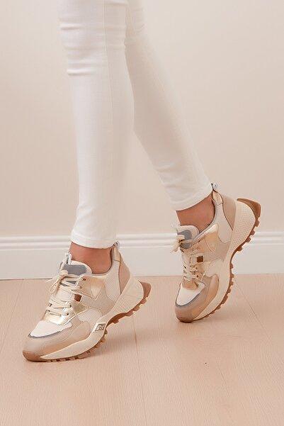 Shoes Time Kadın Bej Spor Ayakkabı  20y 304