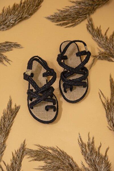 STRASWANS Kadın Siyah Hasır Parmak Arası Sandalet