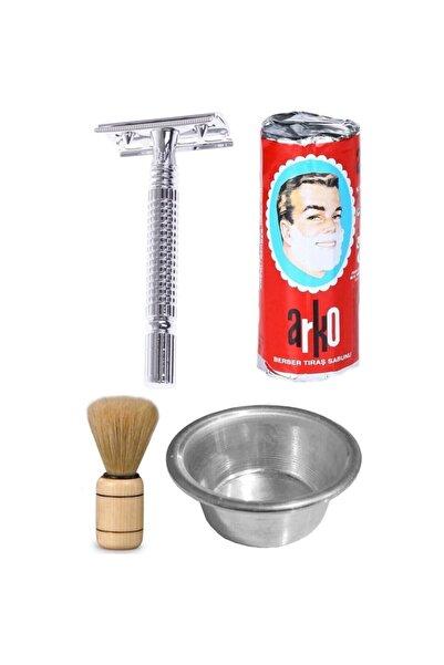 ARKO Sabun  Tıraş Makinası  Jilet 10 Adet  Tası  Fırça 850060 6340000850060