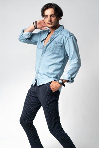 CNS Erkek Açık Mavi Jean Gömlek