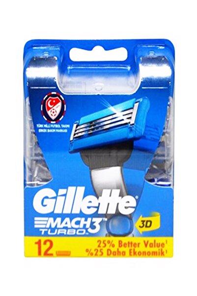 Gillette Mach3 Turbo 12 li Yedek Tıraş Bıçağı Yeni Ambalaj