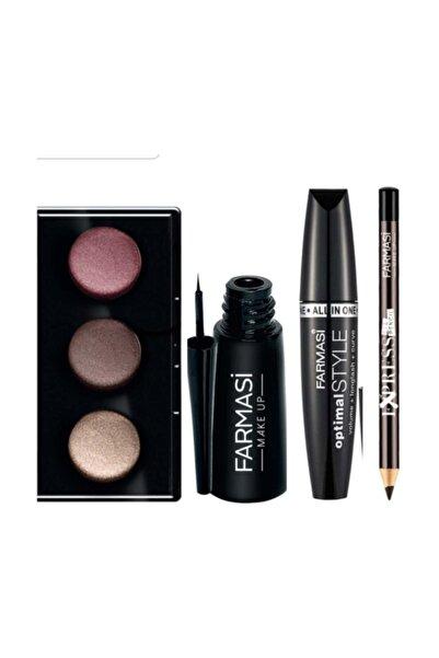 Farmasi Makyaj Seti ( 3 Lü Göz Far Paleti + Eyeliner Siyah + Göz Kalemi Kahve + Optimal Maskara)
