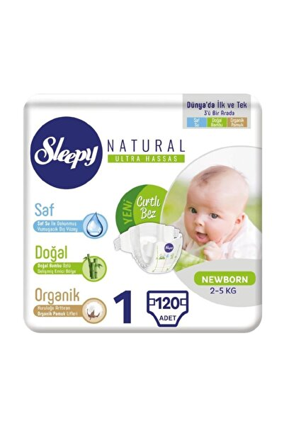 Sleepy Natural Bebek Bezi 1 Numara Yenidoğan 120 Adet (2-5 Kg)