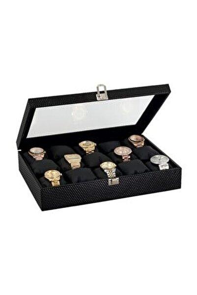 15 li Diamond Siyah Deri Ahşap Camlı Saat Kutusu st15-24