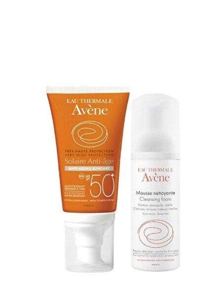 Avene Solaire Anti Age Spf 50+Güneş Kremi 50 ml Temizleyici Köpük 50 ml Hediye 3282779291019