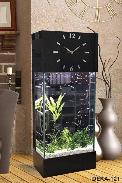Dekor Akvaryum Led ışıklı Saat Kule Akvaryum Deka-121 Siyah