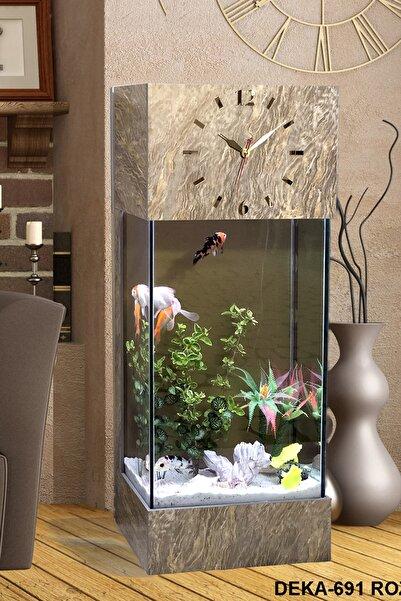 Dekor Akvaryum Led ışıklı Saat Kule Akvaryum Seti Deka-691 rozalya
