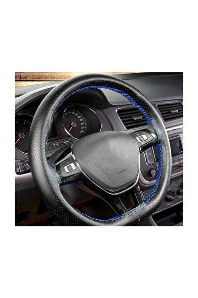 Car19 Dikmeli Direksiyon Kılıfı Noktalı Mavi Dikişli