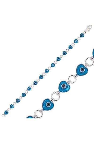 Gumush Kadın Mavi  Kalp Nazar Boncuklu Gümüş  Bileklik