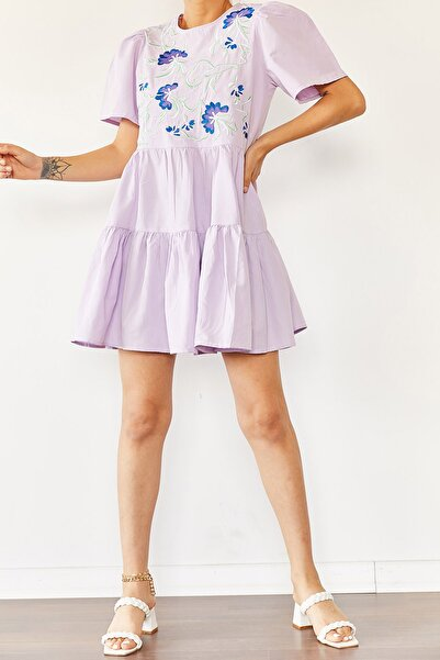 Kadın Lila İşlemeli Elbise 0YZK6-10411