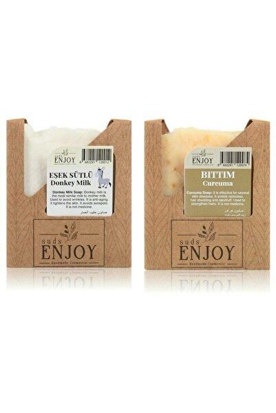 Enjoy Doğal Eşek Sütlü - Bıttım El Yapımı Yüz, Saç Ve Vücut Sabunu (İkili Paket)