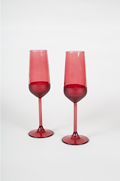 Rakle Matte 2'li Şampanya Kadehi Seti Kırmızı 195 Cc
