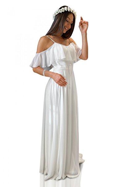 Ekru Askılı Uzun Abiye Elbise