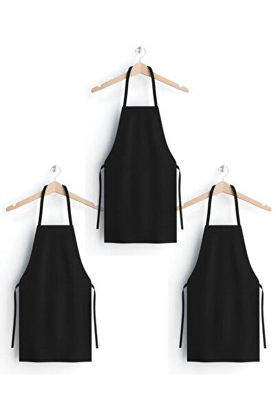KURUMSAL AMBALAJ 3 Adet Mutfak Önlüğü-%100 Pamuk Siyah Gabardin Kumaş