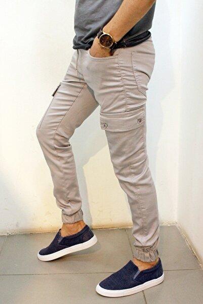 Twister Jeans Cold 9138 Gabardin Beli Ve Paçası Lastikli Kargo Pantolon Gri