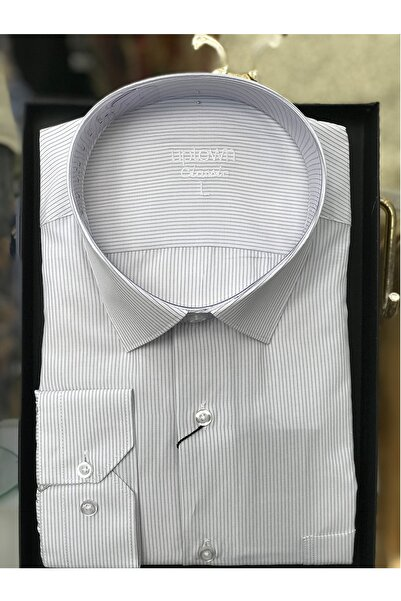 Uptown Erkek Klasik Gömlek Çizgili Beyaz