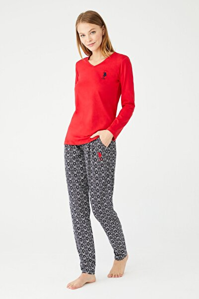 U.S POLO Kadın Kırmızı V Yaka Pijama Takım