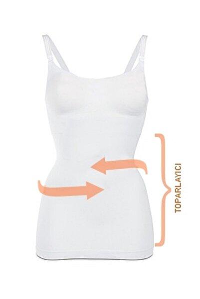 Akdağ Sportswear Toparlayıcı Miğde Ve Göbek Korseli Organik Koton Dikişsiz Beyaz Emzirme Atleti