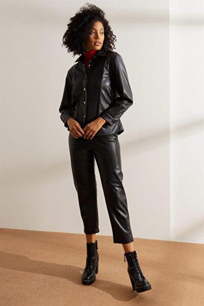 Setre Kadın Siyah Uzun Kol Çıtçıtlı Deri Gömlek