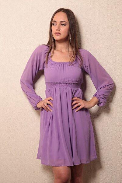 Reyon Kadın Lila Kayık Yaka Elbise