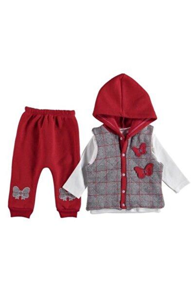 Babydonat Kız Bebek Kırmızı Ekose Yelekli 3ip Takım