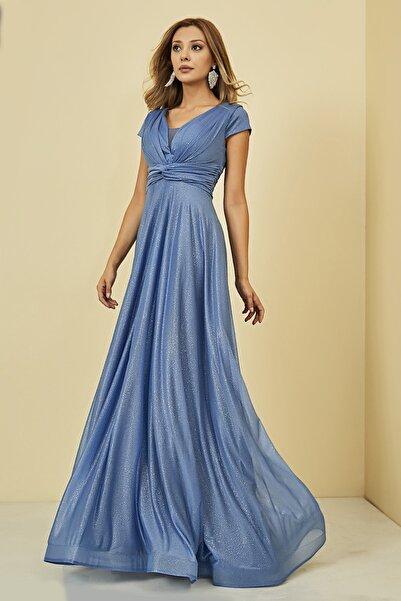 Sateen Kadın Mavi Drapeli Uzun Abiye Elbise