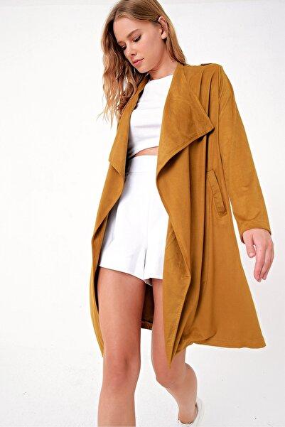 Trend Alaçatı Stili Kadın Hardal Cepli Apoletli Suni Deri Trençkot MDS-254-KBN-RV-1