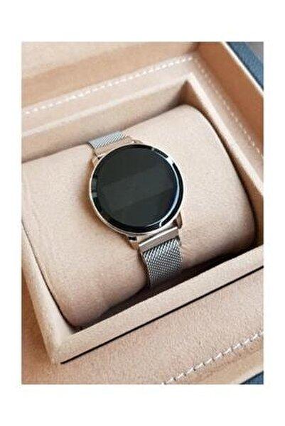 Kadın Gümüş Hasır Mıknatıslı Kordon Dokunmatik Ekranlı Saati