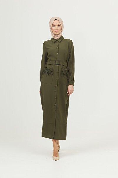 Setrms Kadın Haki Dantel Cepli Düğmeli Elbise