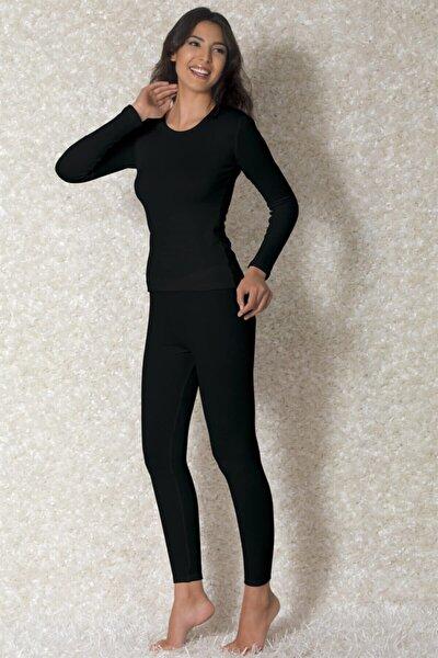 Doreanse Kadın Siyah Viloft Yuvarlak Yaka Uzun Kollu Termal T-shirt 8570