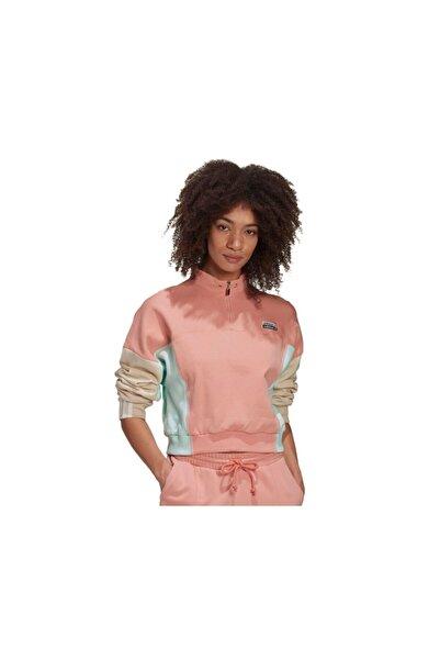 adidas Kadın Pembe Cropped Sweater Günlük Sweatshirts  Ge1271