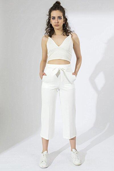 Arma Life Kadın Ekru Beli Kuşaklı Salaş Pantolon