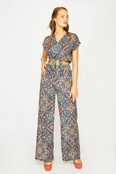 Batik Kadın Kahverengi Desenli Casual Pantolon