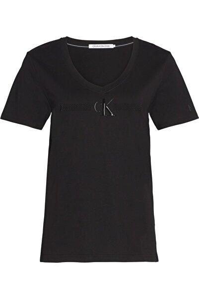 Calvin Klein Kadın Siyah Monogram Stud Gel V-neck Tee T-Shirt