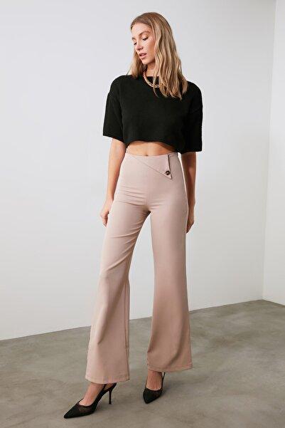 TRENDYOLMİLLA Vizon Bel Detaylı Pantolon TWOAW21PL0743